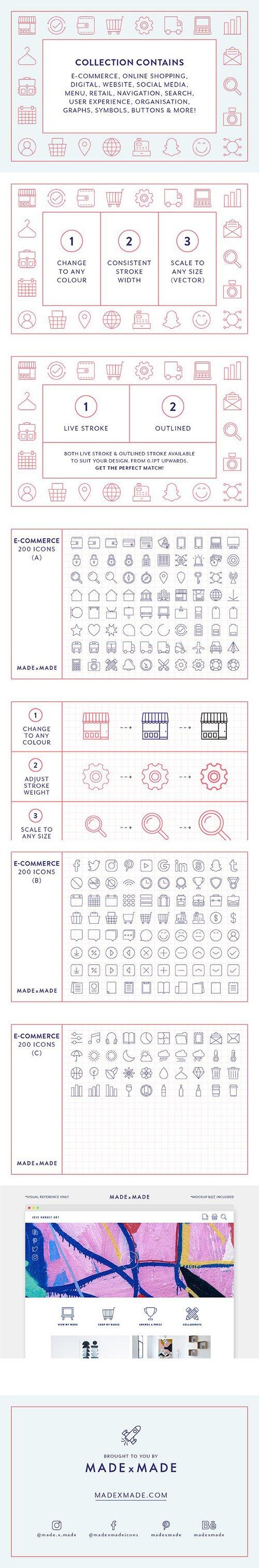 200 ECommerce Line Icons