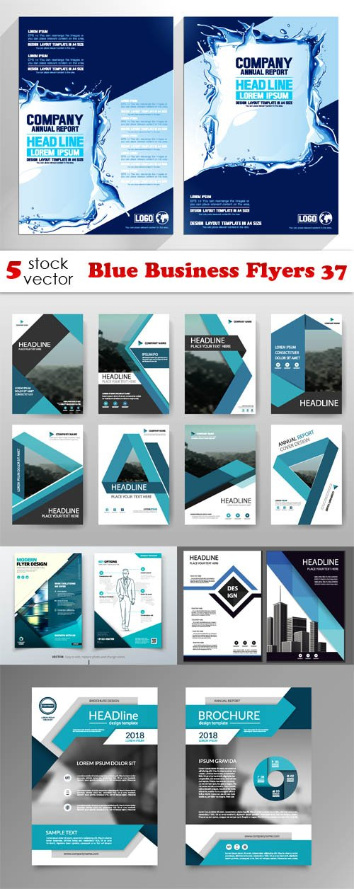 Vectors - Blue Business Flyers 37