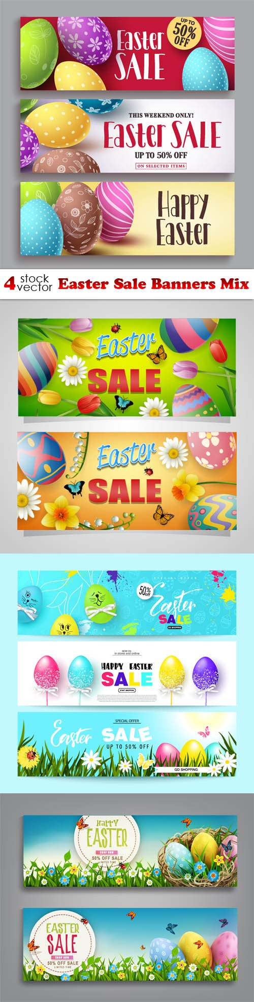 Vectors - Easter Sale Banners Mix