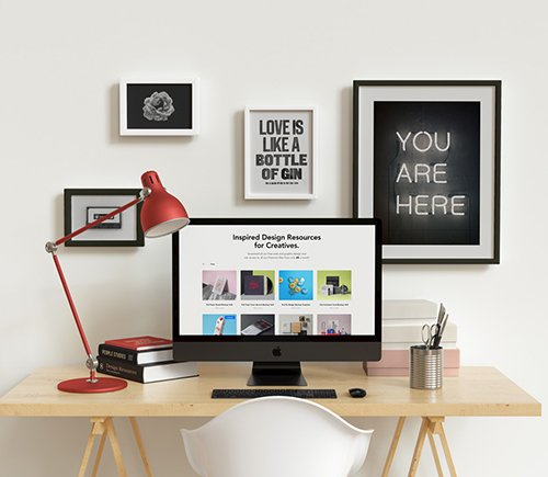 iMac Workspace Desk Mockup