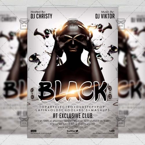 Club A5 Flyer Template - Black Night