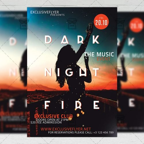 Club A5 Flyer Template - Dark Night Fire