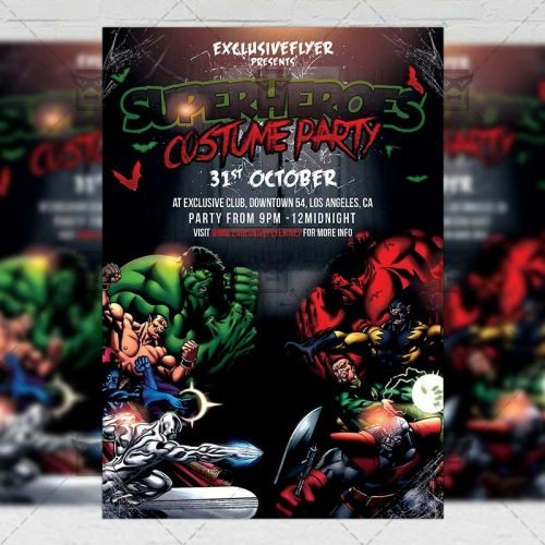Seasonal A5 Flyer Template - Superheroes Costume Party