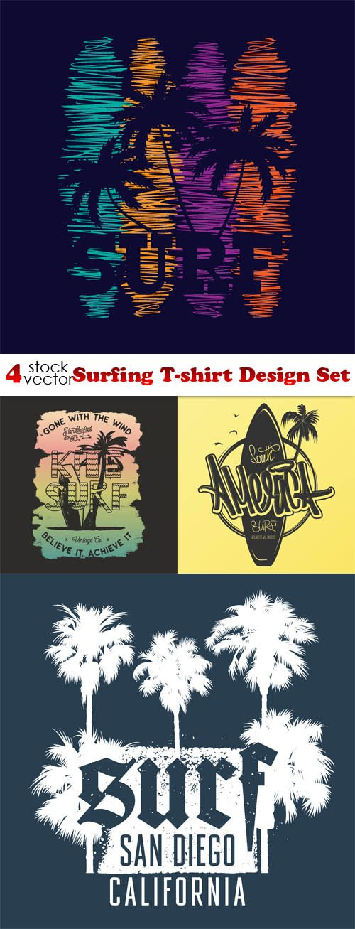 Vectors - Surfing T-shirt Design Set