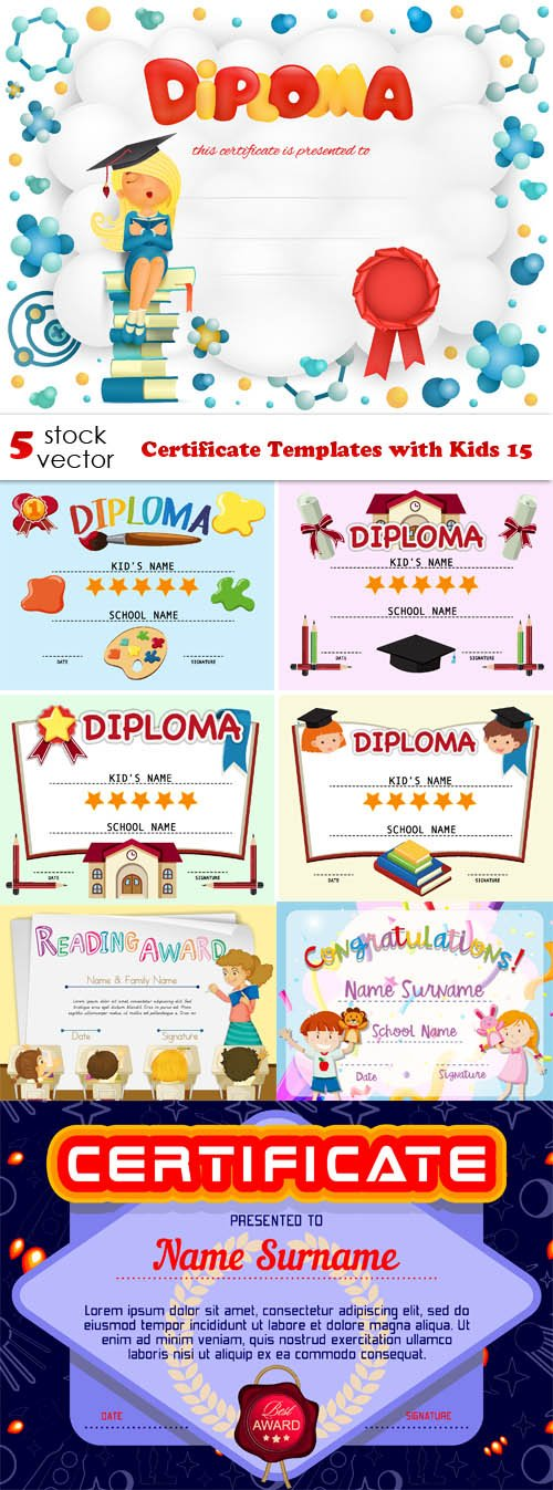 Vectors - Certificate Templates with Kids 15