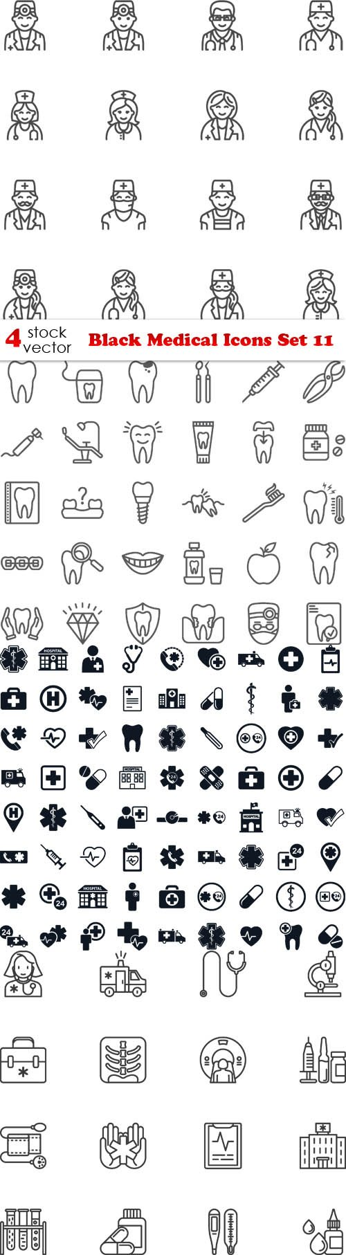 Vectors - Black Medical Icons Set 11