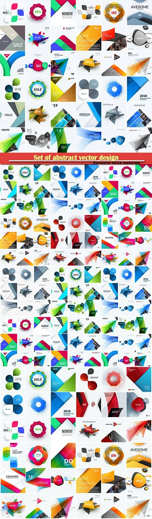 Set of abstract vector design for graphic template