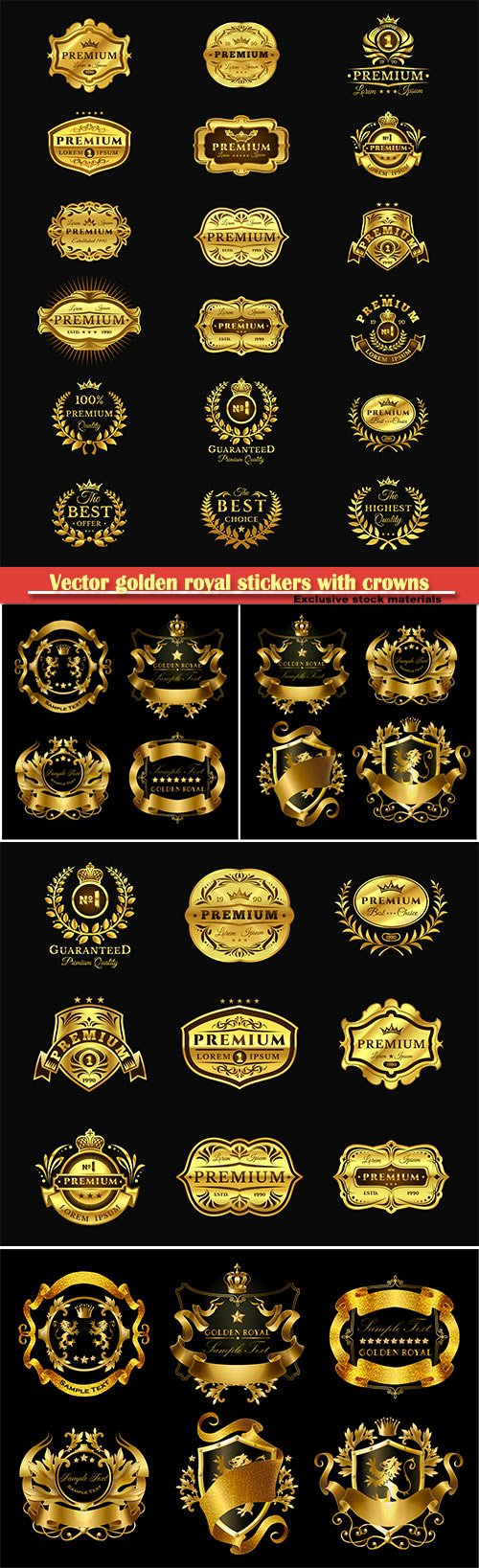 Vector golden royal stickers with crowns, elegant monogram and labels