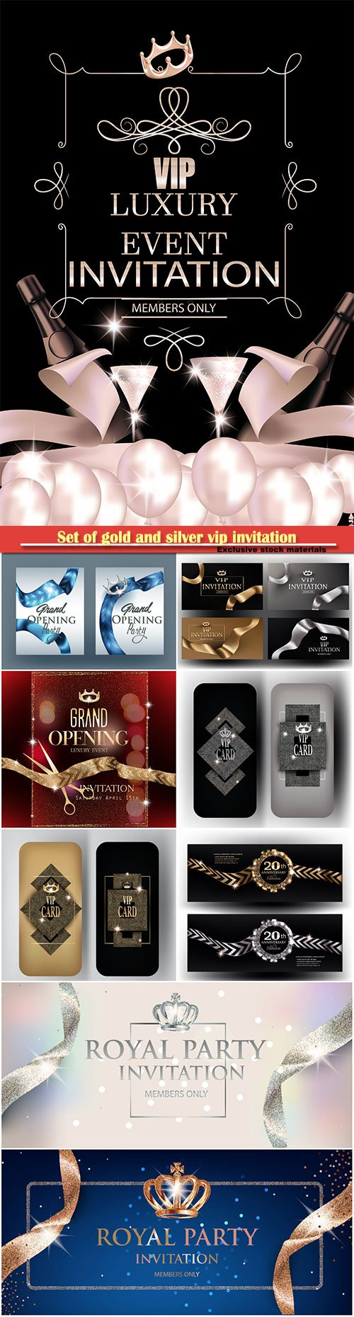 Set of gold and silver vip invitation vector cards