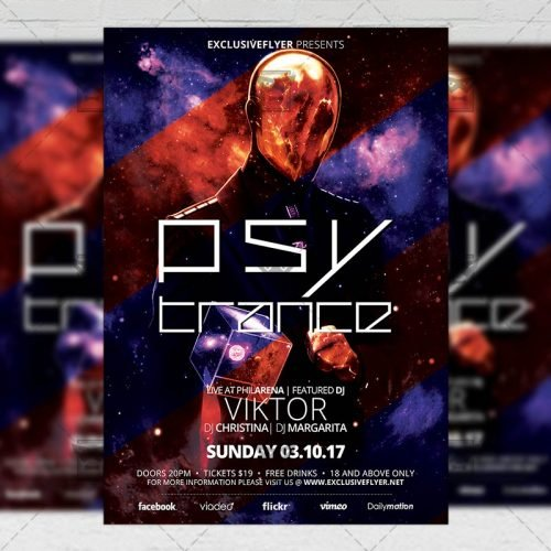 Club A5 Flyer Template - Psy Trance Night