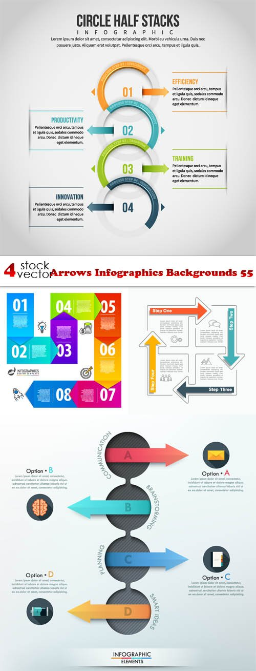 Vectors - Arrows Infographics Backgrounds 55