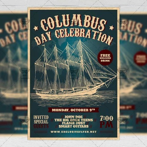 Seasonal A5 Flyer Template - Columbus Day Celebration