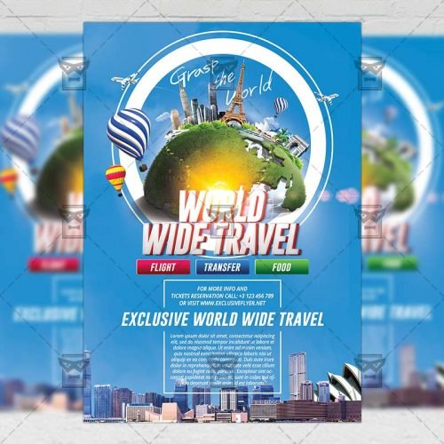 Travel A5 Flyer Template - Grast The World