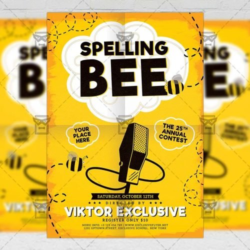 School A5 Flyer Template - Spelling Bee Contest