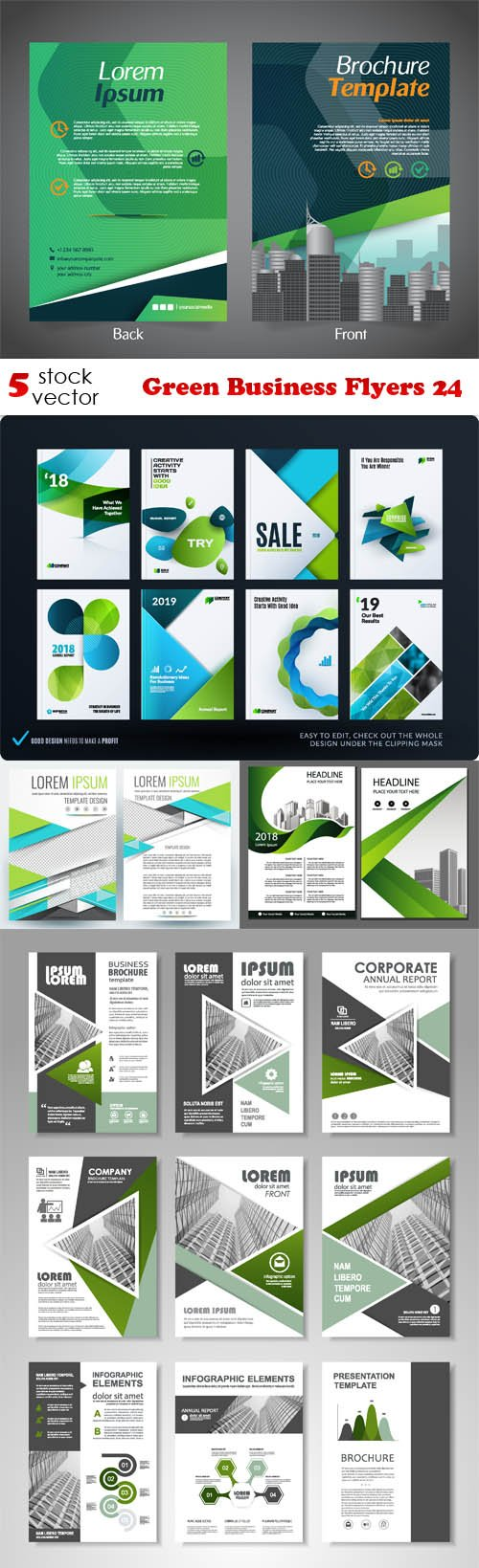 Vectors - Green Business Flyers 24