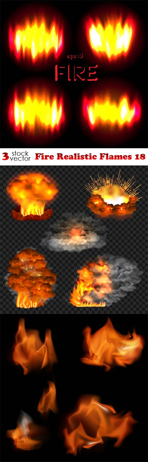 Vectors - Fire Realistic Flames 18