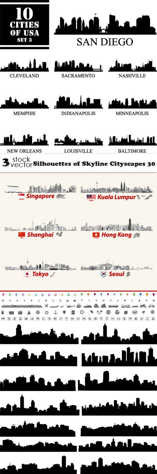 Vectors - Silhouettes of Skyline Cityscapes 30