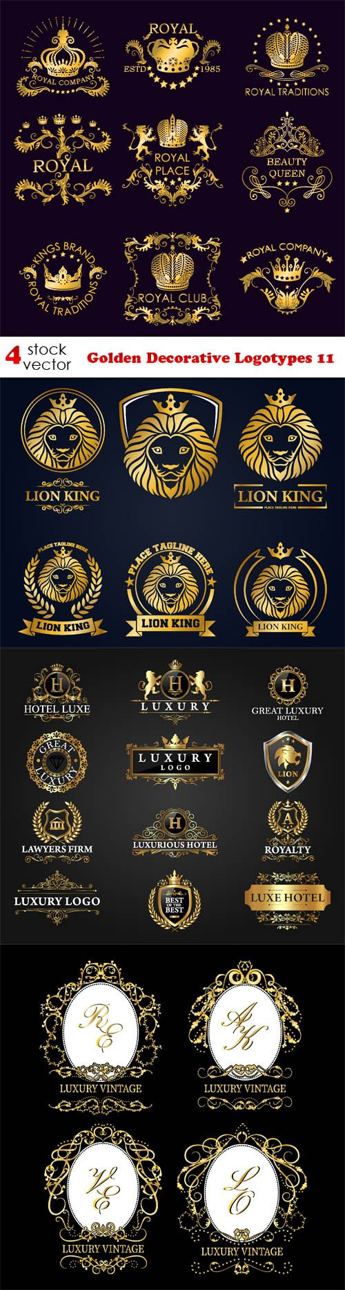 Vectors - Golden Decorative Logotypes 11