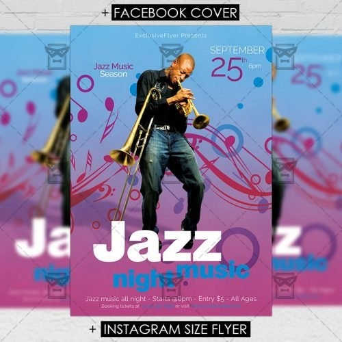 Club A5 Flyer Template - Jazz Music Night