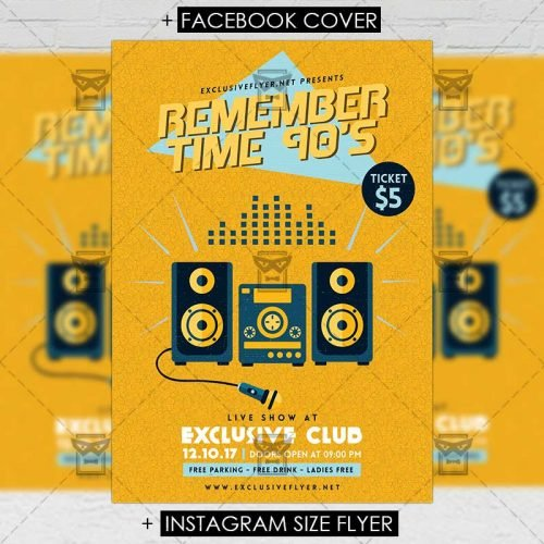 Retro A5 Flyer Template - Remember Time 90's