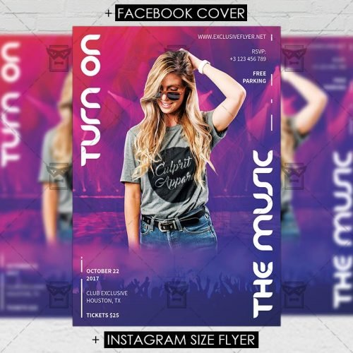 Club A5 Flyer Template - Turn On The Music