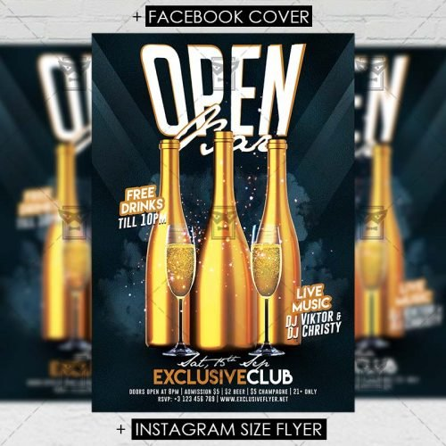 Club A5 Flyer Template - Open Bar