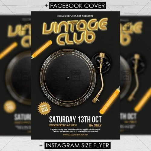 Retro A5 Flyer Template - Vintage Club
