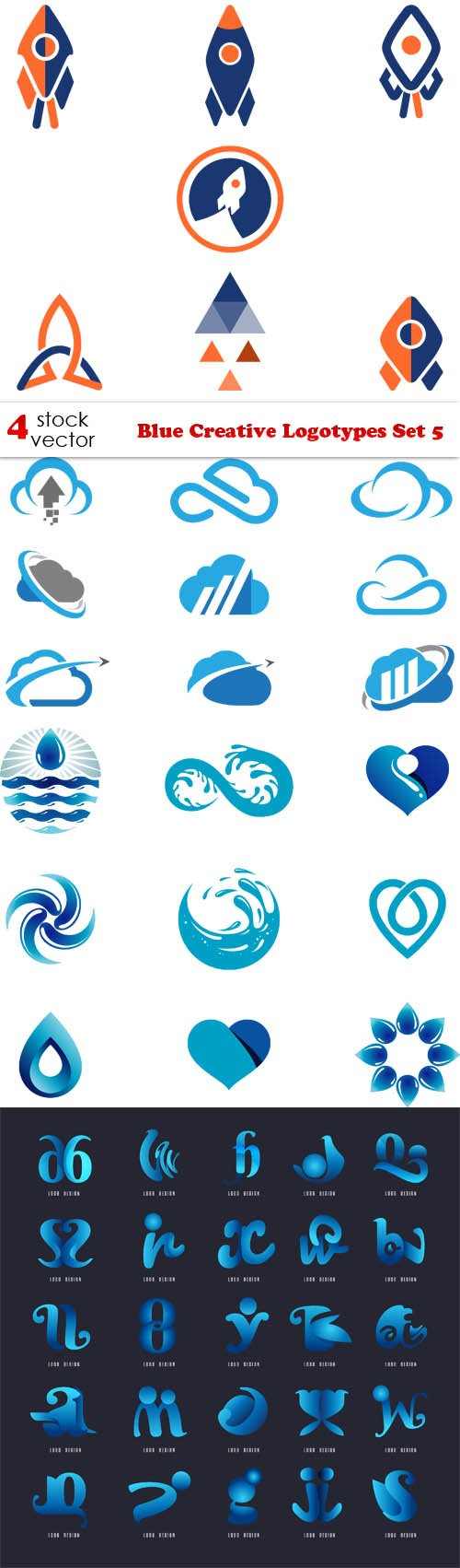 Vectors - Blue Creative Logotypes Set 5