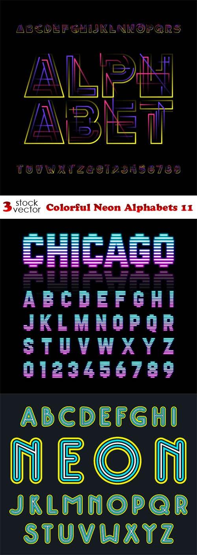 Vectors - Colorful Neon Alphabets 11