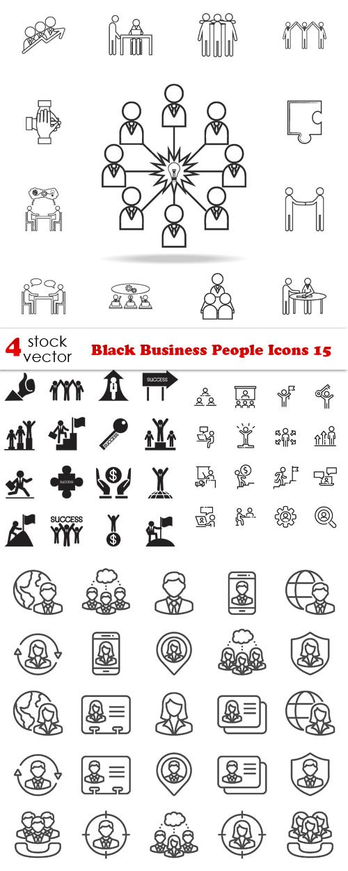 Vectors - Black Business People Icons 15