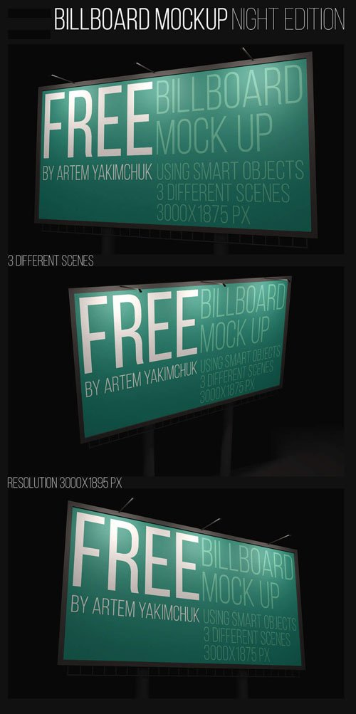 Night Billboard PSD Mockups
