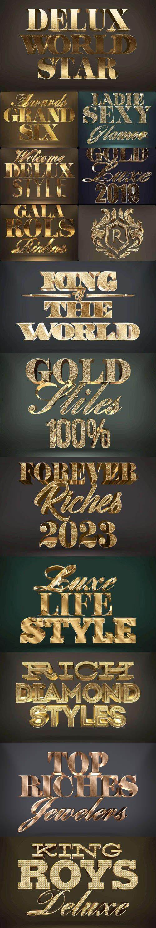 Golden 3D Text Styles for Photoshop