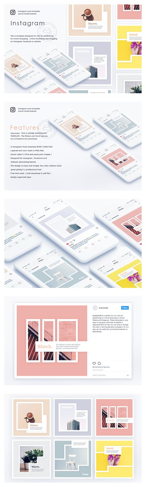 Abstract Instagram Layout PSD Templates