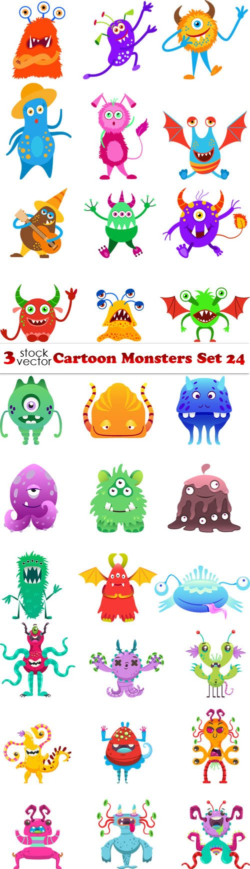 Vectors - Cartoon Monsters Set 24