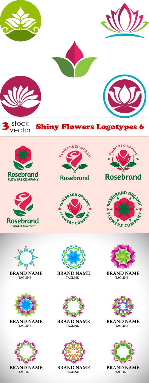 Vectors - Shiny Flowers Logotypes 6