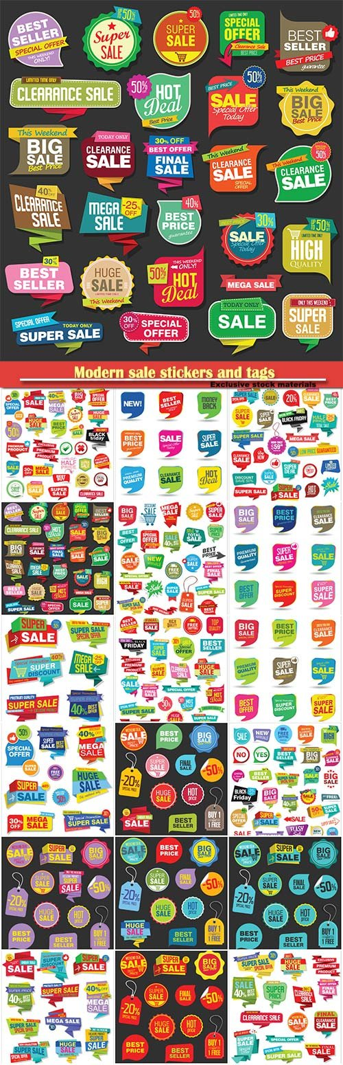 Modern sale stickers and tags colorful vector collection