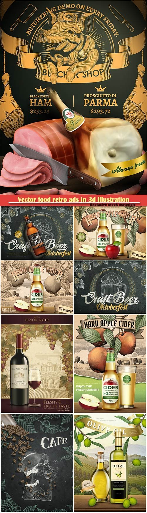 Vector food retro ads in 3d illustration, engraving style background