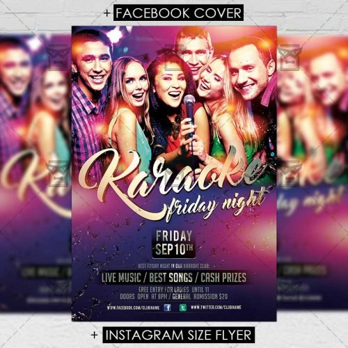 Club A5 Flyer Template - Karaoke Friday Night