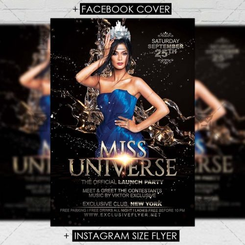 Club A5 Flyer Template - Miss Universe