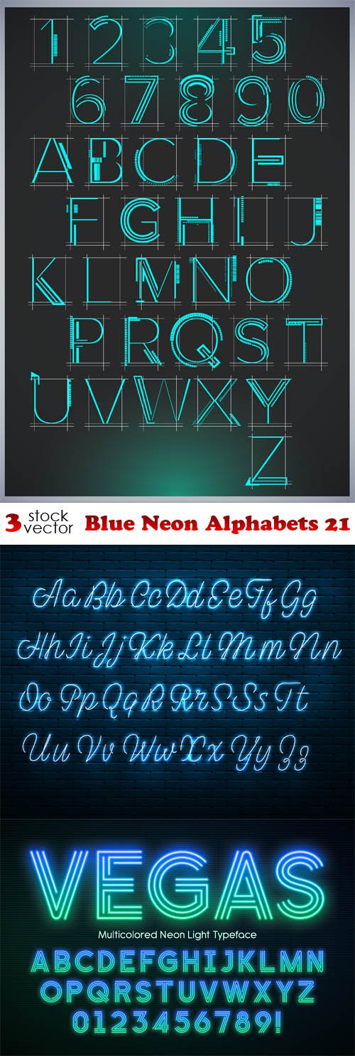 Vectors - Blue Neon Alphabets 21