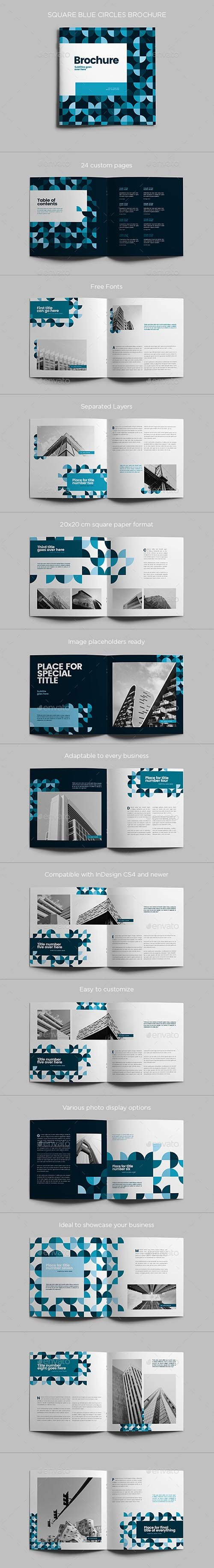 Square Blue Circles Brochure 21751220