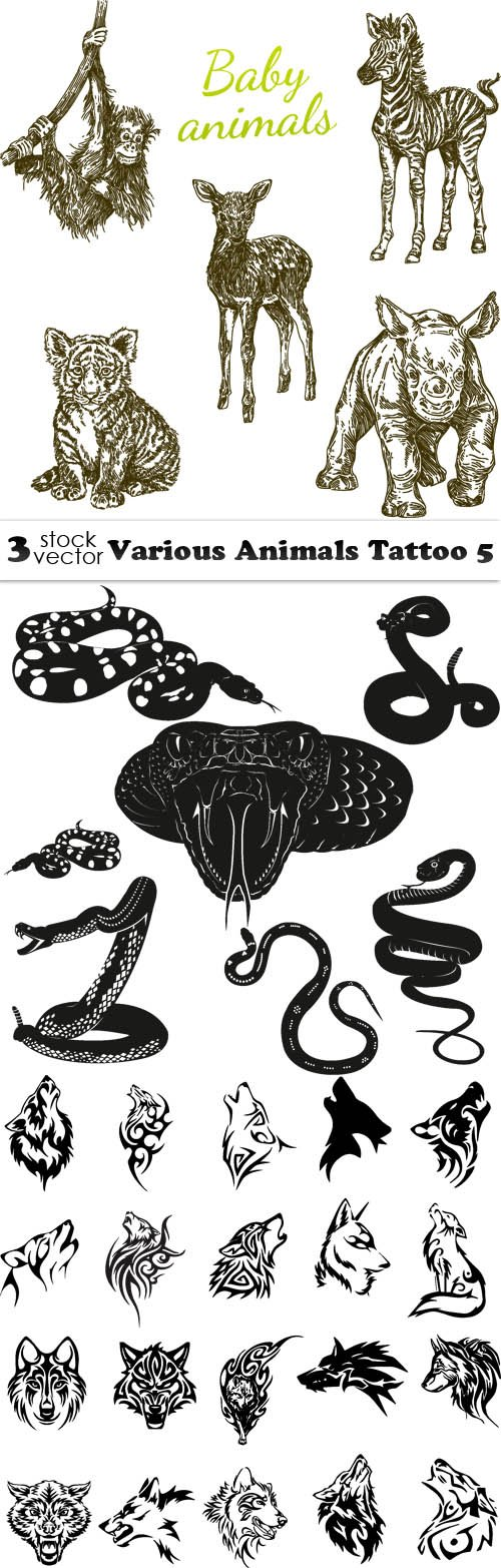 Vectors - Various Animals Tattoo 5