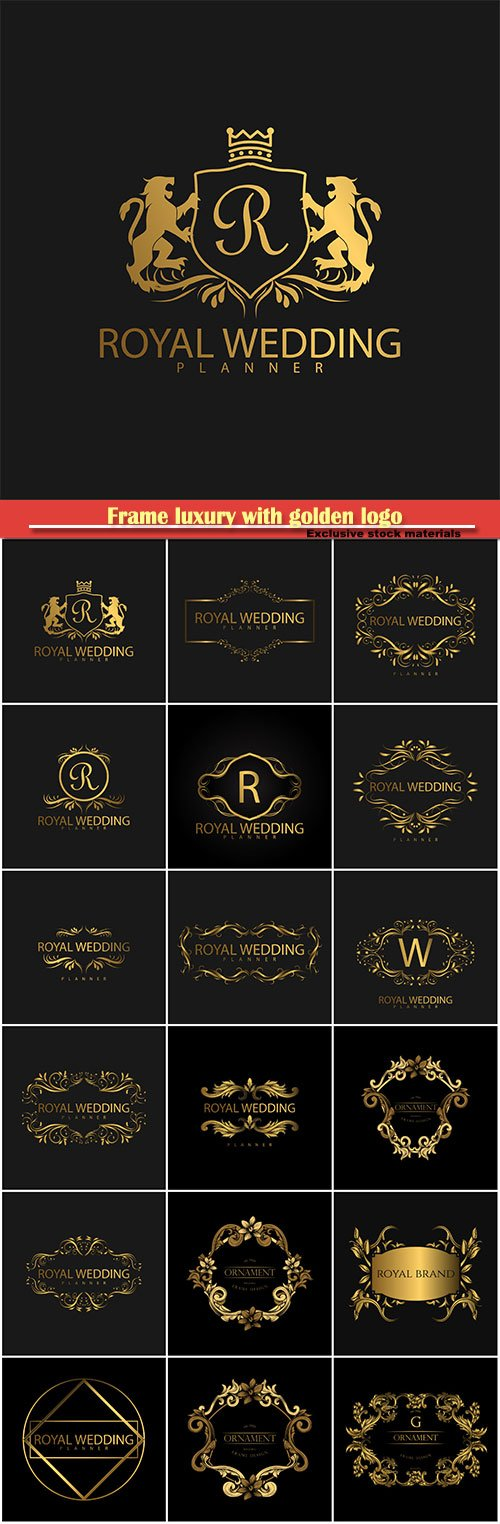Frame luxury with golden logo vector template