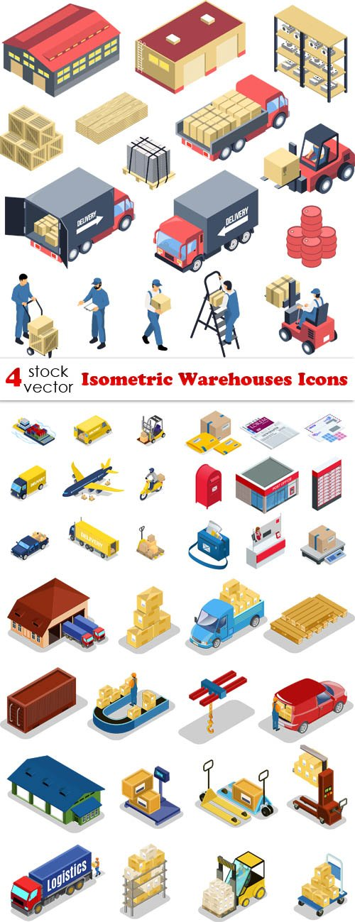 Vectors - Isometric Warehouses Icons