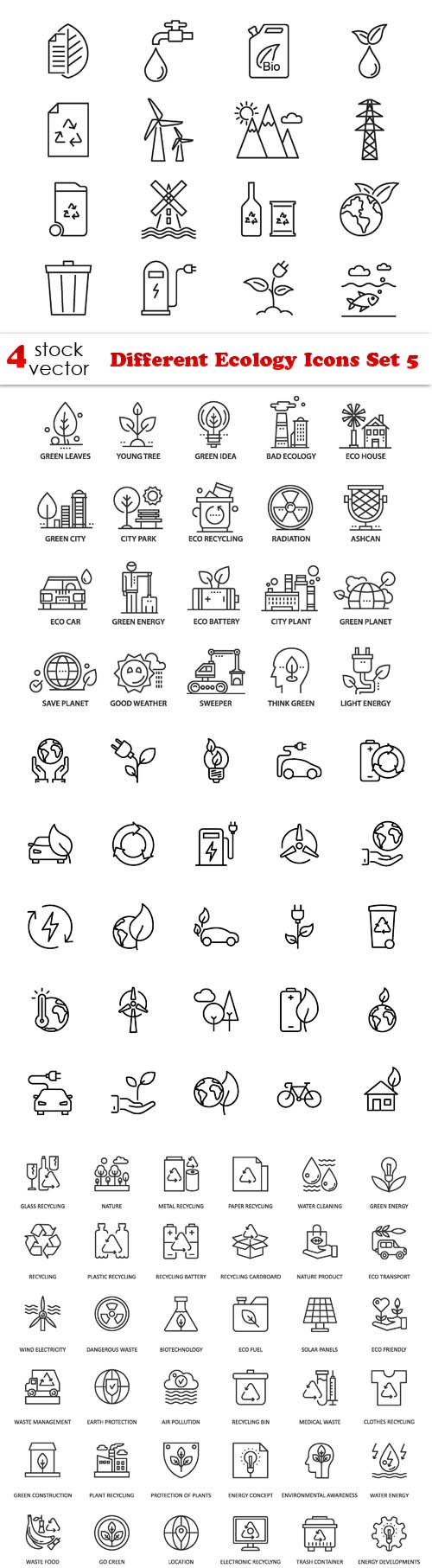 Vectors - Different Ecology Icons Set 5
