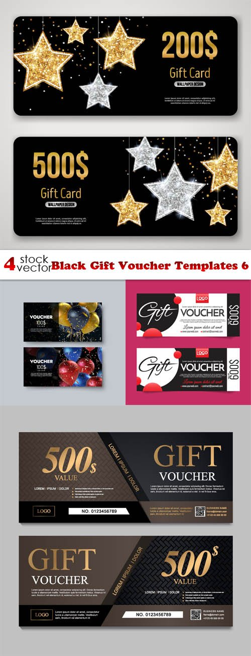 Vectors - Black Gift Voucher Templates 6