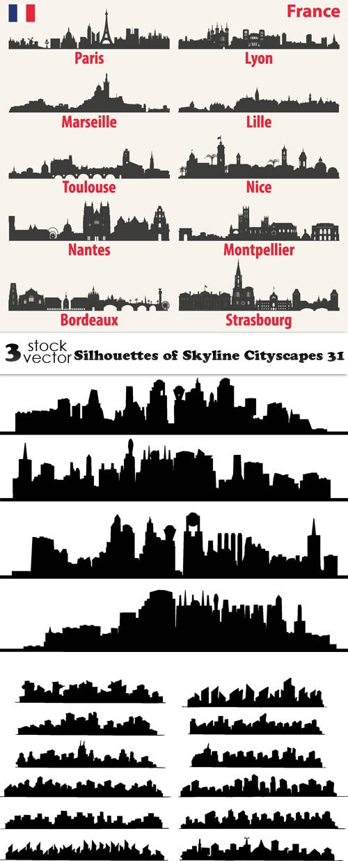 Vectors - Silhouettes of Skyline Cityscapes 31