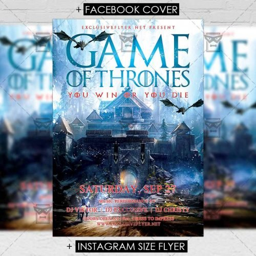 Club A5 Flyer Template - Game of Thrones Night