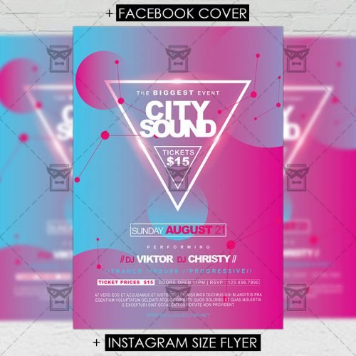 Premium A5 Flyer Template - City Sounds