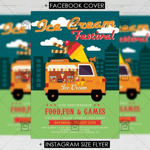 Premium A5 Flyer Template - Ice Cream Festival